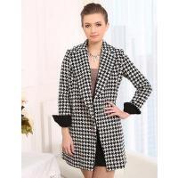 新款女修身外套时尚个性韩版加厚格子中长款呢子毛呢大衣外套