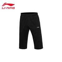 李宁男子夏季训练系列吸汗平口运动卫裤七分裤AKQL049