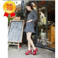 王菲儿新款粗跟包脚单鞋系带高跟鞋夜店女鞋结婚鞋红色975―1