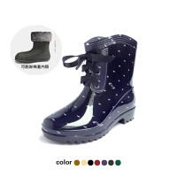 【支持礼品卡支付】女士雨靴雨鞋韩版时尚四季豹纹雨鞋女式高跟波点水靴保暖防滑短筒雨靴