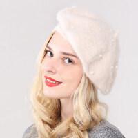韩版贝雷帽女 新款时尚高端兔毛蘑菇帽子保暧帽子显脸瘦