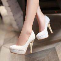【支持礼品卡支付】女鞋韩版高跟鞋公主亮片女单鞋超高跟防水台水晶婚鞋婚纱鞋