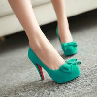 【支持礼品卡支付】女鞋韩版高跟鞋浅口鞋蝴蝶结防水台细跟公主鞋