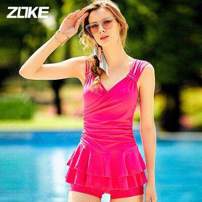 ZOKE洲克泳衣女平角裙式连体泳衣大码保守速干钢托聚拢泳装游泳衣115501451