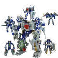 儿童玩具变形机器人金刚4 星空救援队钢索钢锁合体恐龙模型,恐龙变形玩具 单款可变形 五款可合一 做工精美
