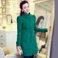 新款女士韩版绿色呢子大衣中长款单排扣毛呢外套