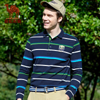 骆驼男装 新款秋款纯棉长袖t恤 条纹商务休闲门筒领体恤衫男士