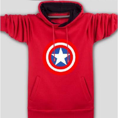 新款个性时尚休闲青少年加绒大码外套班服学生装韩版美国队长套头卫衣