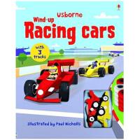 进口英文原版 发条小汽车 含轨道 Wind-up Racing Cars 儿童玩具礼品书 跑跑乐地板玩具书发条轨道书:赛车(木板书)