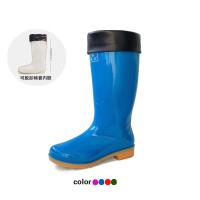 女士雨靴纯色时尚雨鞋高筒女式防水雨鞋插秧水田胶鞋雨靴厨房劳保水靴