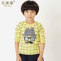 【当当自营】贝康馨童装 男童方格老人头T恤 韩版纯棉打底上衣新款秋装
