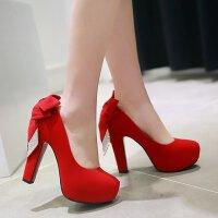 女超高跟鞋性感新娘鞋红色结婚鞋粗跟恨天高蝴蝶结单鞋女鞋