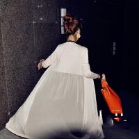 气质款夏季女装莫代尔网纱拼接外套披肩 长款防晒衣长袖女开衫