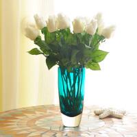 手感PU玫瑰套装 家居客厅装饰品假花束 欧式餐桌仿真花绢花摆设