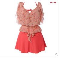 时尚性感女士泳衣 新款 甜美分体裙式钢托聚拢大胸小胸四件套泳衣