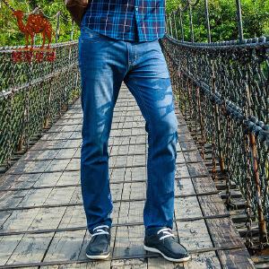 骆驼男装 春夏新款微弹中腰直筒直脚牛仔裤 商务休闲长裤 男