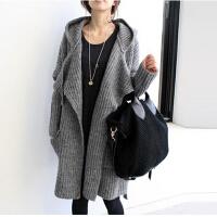 2015秋冬新品女装 深灰色加大休闲女士毛线大衣连帽子厚款毛衣外套