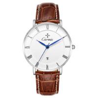 男士手表真皮带手表 防水时尚商务石英表学生男表