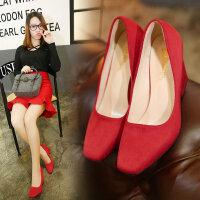 女高跟鞋方头鞋粗跟鞋女鞋优雅浅口鞋红色婚鞋伴娘鞋