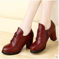 古奇天伦新款女鞋 英伦圆头皮鞋粗跟系带高跟女鞋单鞋子7885
