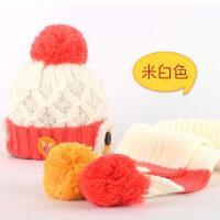 儿童帽子围巾两件套 男宝宝保暖帽子韩版潮女童护耳帽