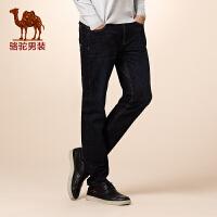 骆驼男装 新品秋款青年棉中高腰纯色直筒长裤牛仔裤男