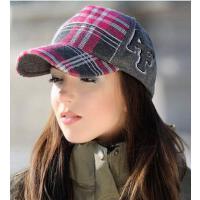 新品时尚个性棒球帽 休闲时尚鸭舌帽格子男士女帽子