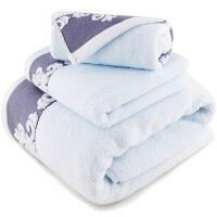 [当当自营]三利 纯棉缎档图腾纹样 方巾毛巾浴巾三件套 礼盒装 浅蓝色
