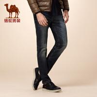 骆驼男装 冬款新款青年中腰微弹直筒洗水绵氨纶长裤牛仔裤男