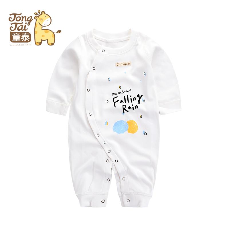 童泰新款纯棉新生儿衣服婴儿侧开连体衣男女宝宝内衣卡通印花长袖