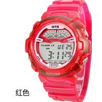 手表女中学生韩版果冻表透明表带夜光运动电子表