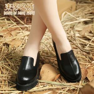东帝名坊新款日系罗马风厚底粗跟中跟女鞋侧拉链单鞋