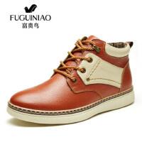 富贵鸟韩版雪地靴男士棉鞋男保暖棉靴加绒头层牛皮真皮马丁靴B546003C