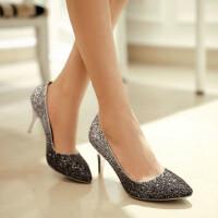 【支持礼品卡支付】女鞋子韩版高跟鞋亮片尖头渐变色细跟优雅礼服鞋公主单鞋