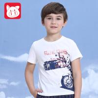 小猪班纳童装夏装儿童纯棉上衣潮 中大童2017夏季新款男童短袖T恤