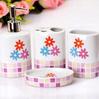 普润 欧式陶瓷卫浴洗漱用品套装 浴室卫浴四件套粉色W5413