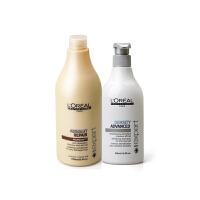 L'OREAL/欧莱雅 强韧焕发洗发水500ml+致臻修护护发素750ml洗护套装 进口专业洗发护发