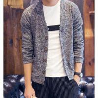 韩版修身 线衣个性时尚新款大V领开衫潮男士时尚休闲外套毛衣