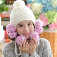 韩版时尚保暖帽子 毛线彩色九球帽 棒针绒线女帽