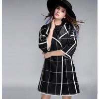 新款修身 欧美加肥加大码女装格子九分袖风衣女 潮