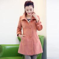 新款女士时尚韩版大码女装呢大衣中长款修身毛呢外套