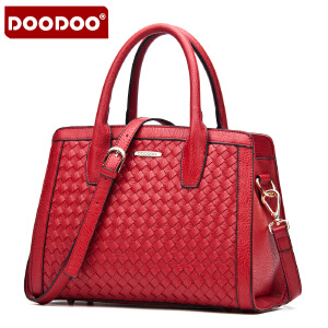 DOODOO 2017新款时尚包包女包单肩手提编织包时尚斜挎女士大包包 D5021