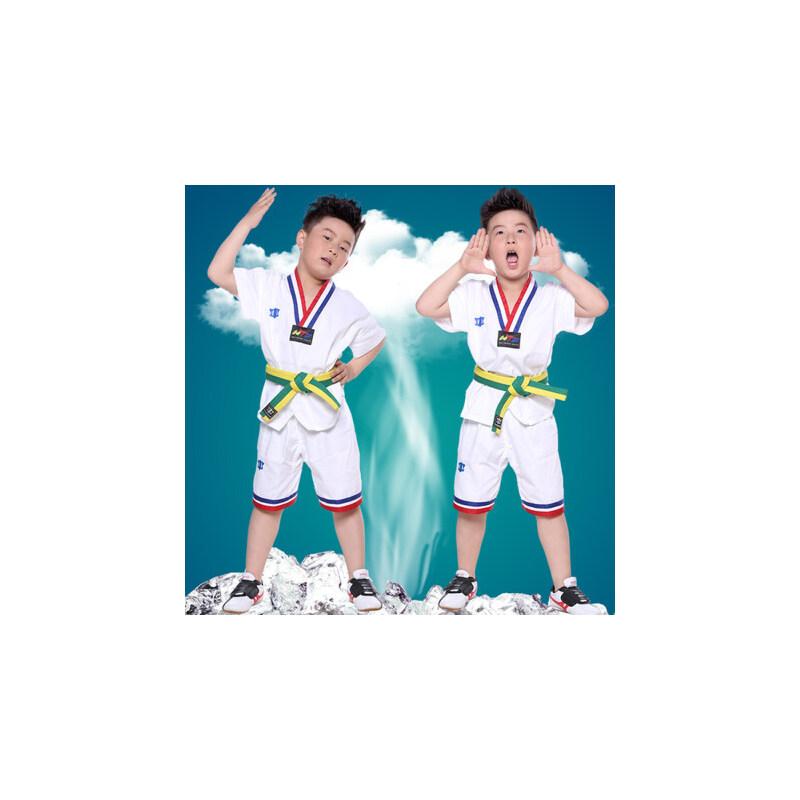 短袖跆拳道服儿童t恤教练服成人男女少儿纯棉跆拳道服装