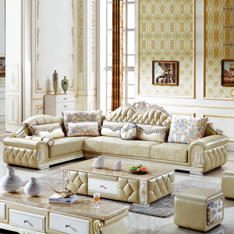 【俏夫人欧式沙发组合布艺沙发9166#图片】高清图