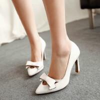 【支持礼品卡支付】女鞋韩版高跟鞋尖头浅口蝴蝶结超高跟鞋细跟公主鞋潮鞋
