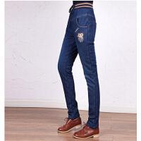 女裤潮流少带绒长裤子  修身百搭牛仔裤加绒加厚款