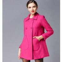 新款 大码女装外套韩版时尚显瘦呢子大衣毛呢外套