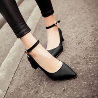 女鞋韩版时尚小尖头搭扣浅口女鞋子粗跟中跟舒适百搭单鞋