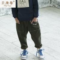 【当当自营】贝康馨童装 男童方程式休闲哈伦裤 韩版纯棉弹力长裤新款秋装