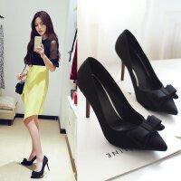 女超高跟鞋尖头鞋浅口鞋单鞋细跟鞋甜美蝴蝶结女鞋